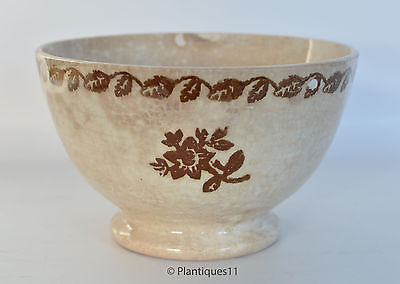 """PORTNEUF Antique Quebec Spongeware Pottery BROWN 6"""" BOWL Late 19th c. Good cond"""