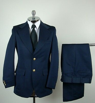 JC PENNEY Mens Navy Blue POLYESTER 2 Gold Button Suit size 36 R