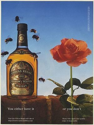 1996 Chivas Regal Bottle Attracts Bees Flower Doesn't You Either Have It Ad