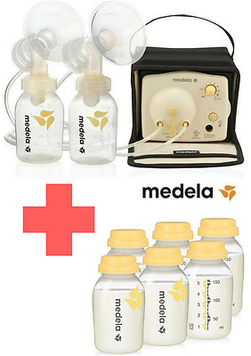 57081 NIB Medela Pump-In-Style Breastpump Starter Set Double Feeding & 6 Bottles