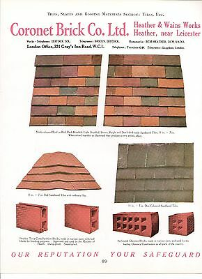 Coronet Brick Heather & Wains Works Leicester Roof Tiles 1938 Vintage Advert