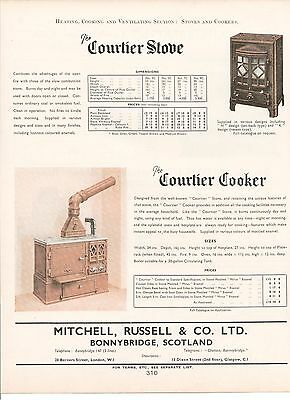 Mitchell Russell Bonnybridge Scotland Courtier Stove Cooker 1938 Vintage Advert