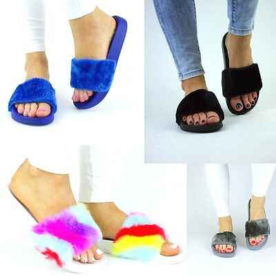 Womens Fur Fluffy Slider Black Grey Cream Blue Pink Flip Flop Uk 3 4 5 6 7 8