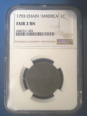 1793 CHAIN America * NGC F2 Fair * FLOWING HAIR Large Cent 1c * Rare FIRST YEAR