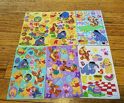 6 Sheets Disney Pooh sandylion  Stickers Pooh Tigger Roo Eeyore crafting piglet