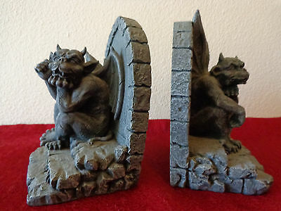 "Pair (2) Winged  Gothic Gargoyle ""Thinker"" Bookends, Heavy Cast Stone/Cement"
