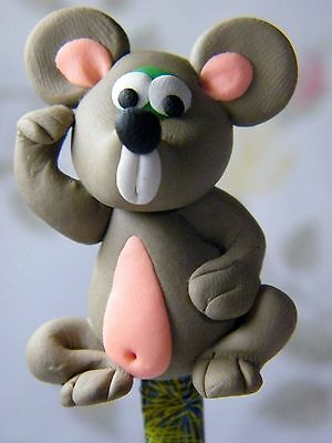 Polymer Clay Lovely Mice Figurine Act On Top Of Wooden Pencil No.01