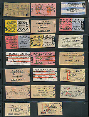 Lot of 26 United Kingdom Ireland Railroad Tickets, Passenger, Bicycle & Child