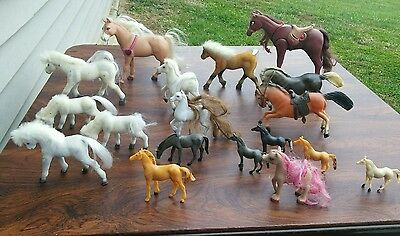 Horses Hard Plastic Toys Lot Of 18