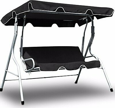 Swing Bench Garden Hammock with Canopy Swinging 3 Seater Seat Chair Metal Black