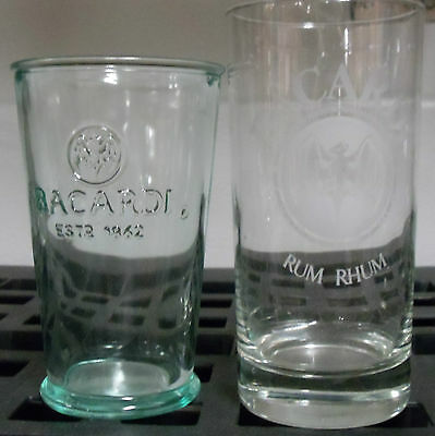 "Bacardi Rum Glass with Bat Logo 5.5"" & Green Thick Embossed Logo Glass 4.75"""