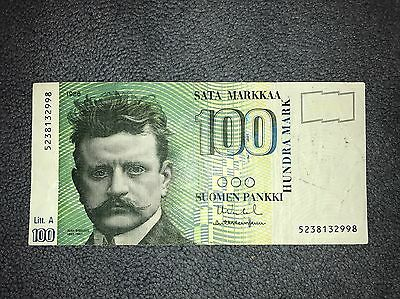100 Markkaa FINLAND Banknote 1986 World Money, Foreign Currency, Nice Paper