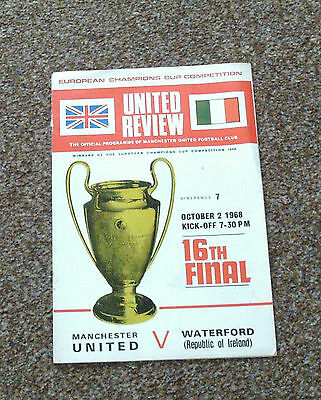 FOOTBALL PROGRAMME- MAN UTD v WATERFORD (European Cup 16th Round 2nd Oct 1968)