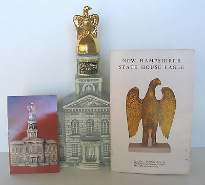 1969 New Hampshire State House Concord w/ Gold Eagle Brooks Decanter + Book