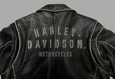 Harley Davidson Distressed Black Leather Jacket Coat Crusader Large Lg  156