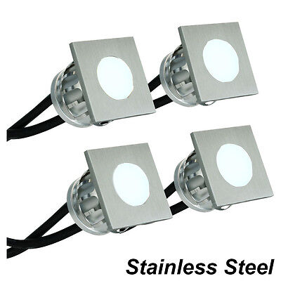 4 Piece Square LED Deck & Step Light Kit DIY Stainless Steel White Complete Kit!