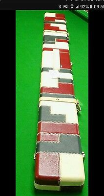 3/4 Wide Leather Burgundy Black And Cream Patchwork Cue Case