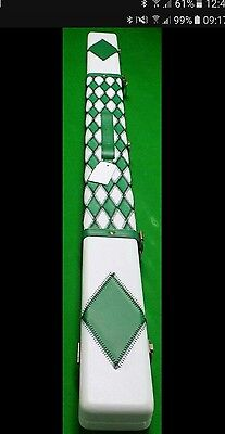 3/4 Leather Green And White Diamond Pattern Cue Case