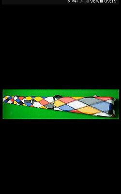 1Pc Leather Cue Case For 2 Cues, Multi Colour Diamond Pattern