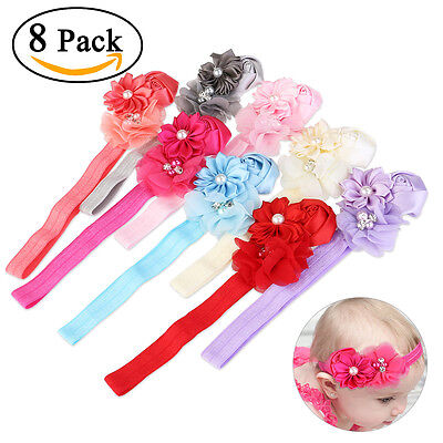 8PC Kid Girl Baby Toddler Infant Flower Headband Hair Bow Band Hair Accessories