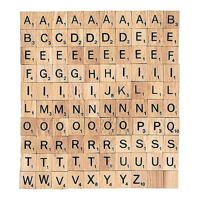For Crafts Wood New 100 Wooden Alphabet for Scrabble Tiles Black Letters&Number