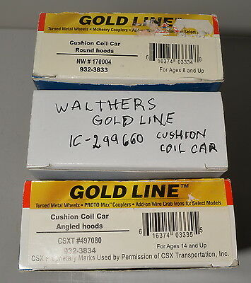 3 new Walthers Gold Line cushion coil cars, metal wheels, IC, CSXT, NW