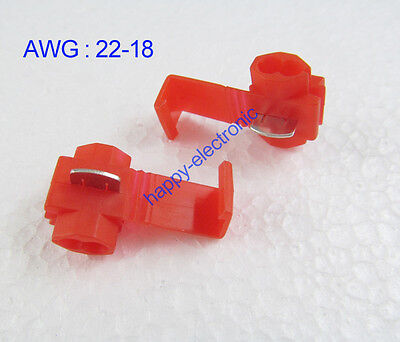 25PCS Red Scotch Lock Quick Splice 22-18 AWG Wire Connector