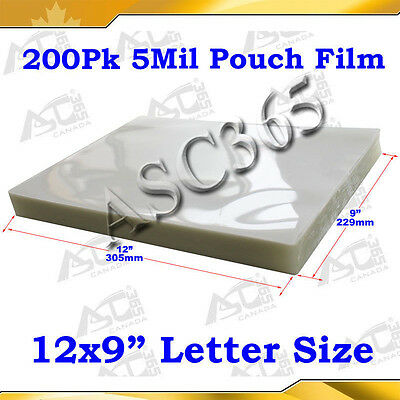 "Clear Style 5Mil Pouch Laminating Film 9x12"" 200Sheet  For Thermal Hot Laminator"