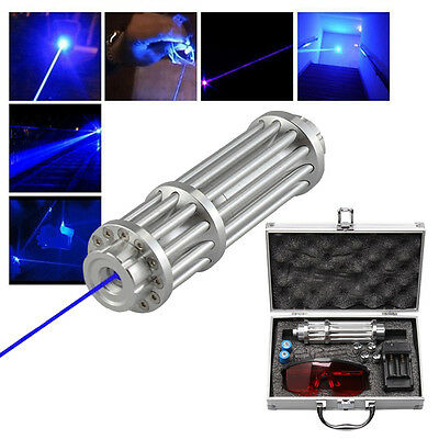U`King High Power 445nm Focusing Blue Beam Laser Pointer Pen Burn Match 5MW+Box