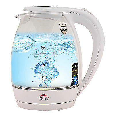1.7L Cordless Glass Electric Hot Water Tea Kettle Stainless Steel