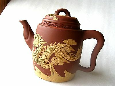 TEAPOT CHINESE DRAGON TERRACOTA  SIGNED Perfect