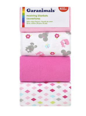 Baby Girl Receiving Blanket Pink Cotton Flannel Soft New in packaging pack of x4