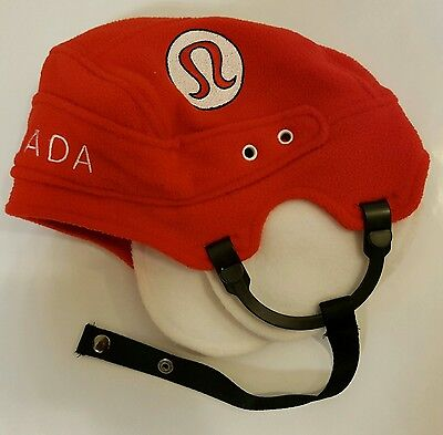 Lululemon Hockey Helmet Toque Red Canada Hat Unisex One Size Fits All *Rare!*