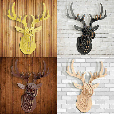 3D Wooden Puzzle Animal Wildlife Elk Deer Head Ornament Wall Hanging Home Decor