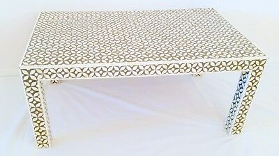 Bone Inlay Black And White Coffee Table
