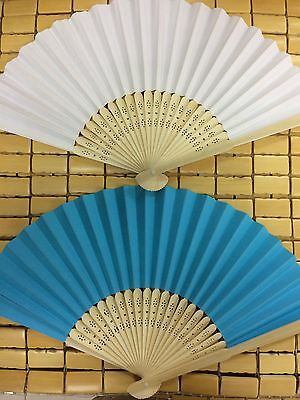 2* Bamboo paper  Fan Hand Folding Fans Outdoor Wedding Party vintage gifts 竹扇 扇子
