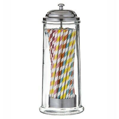 NEW LARGE GLASS STRAW DISPENSER Retro Holder Container Diner Milk Bar