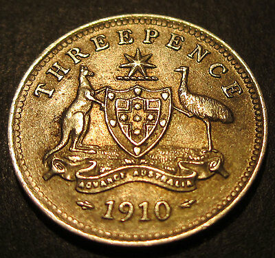 1910 Australia 3d Threepence ** ERROR SHOWING THROUGH ** #PW10-3-02 =HIGH GRADE=