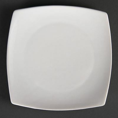 12x Olympia Whiteware Rounded Square Plates 185mm Serving Kitchen Tableware