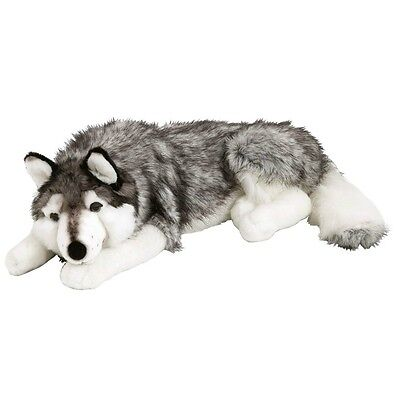 Husky Dog Plush Toy Soft Animal Wolf Kids Children Cuddle Toy Gift Grey 70cm New