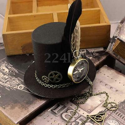 Women Steampunk Gears Clip Mini Top Hat Victorian Girl Costume Dress Headgear