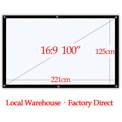 """16:9 100"""" Portable Projector Screen HD Home Theater meeting Outdoor Projection"""