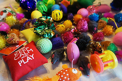 New Bulk Buy Cat Kitten Toys Fur Mice Bells Balls Catnip 10 items BARGAIN