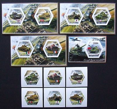 Tchad 2014 -Tanks from World War II,6 st. and 4 S/S, not perforated, MNH,E 4932a