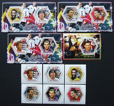 Tchad 2014 - Football players, 6 stamps + 4 S/S,  perforated, MNH,E 4946