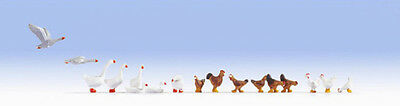 Noch Chickens (9) & Geese (8) 15772 HO Scale (suit OO Also)