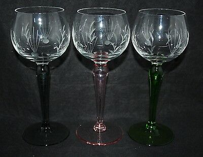 3 Vintage Engraved Wine Glasses with Coloured Stems
