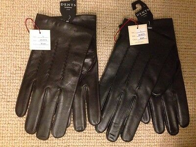 Dents Men's Black Brown Leather Gloves Oxford Acrylic Fleece Lining All Sizes