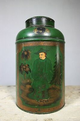 Antique Tea Tin Canister with Chinoiserie Decorations.