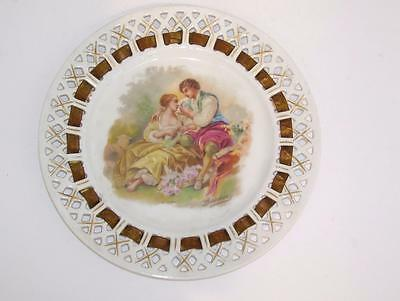 Antique Signed Boucher Courting Scene Ribbon Plate.